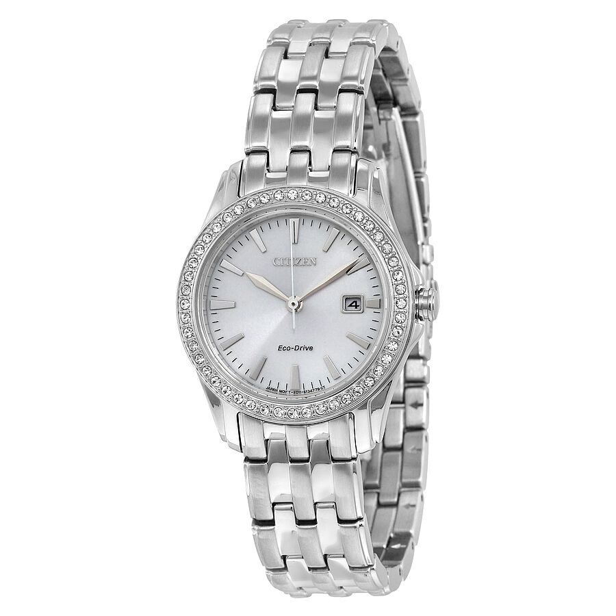 Citizen silhouette crystal silver dial ladies watch ew1901 58a ebay for Crystal ladies watch