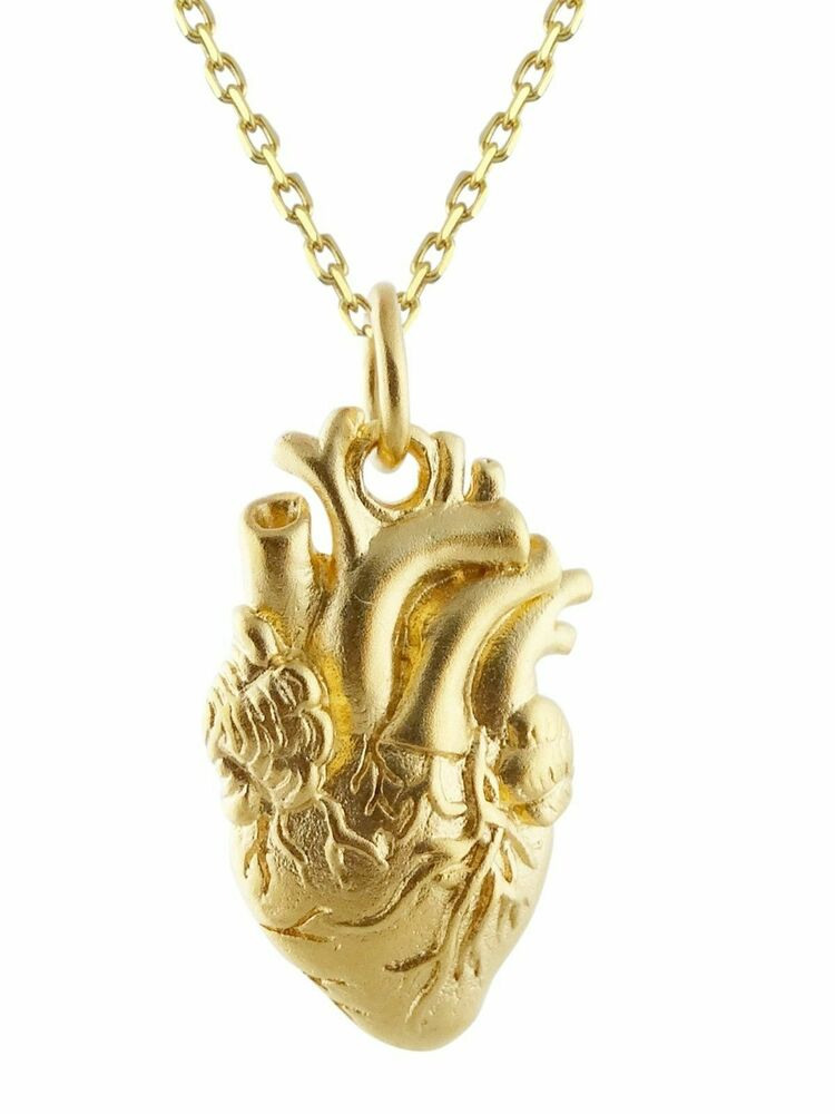 Love Gift Gold Heart Pendant Wallpaper : Anatomical Heart charm Necklace - 24K Gold Plate Sterling ...