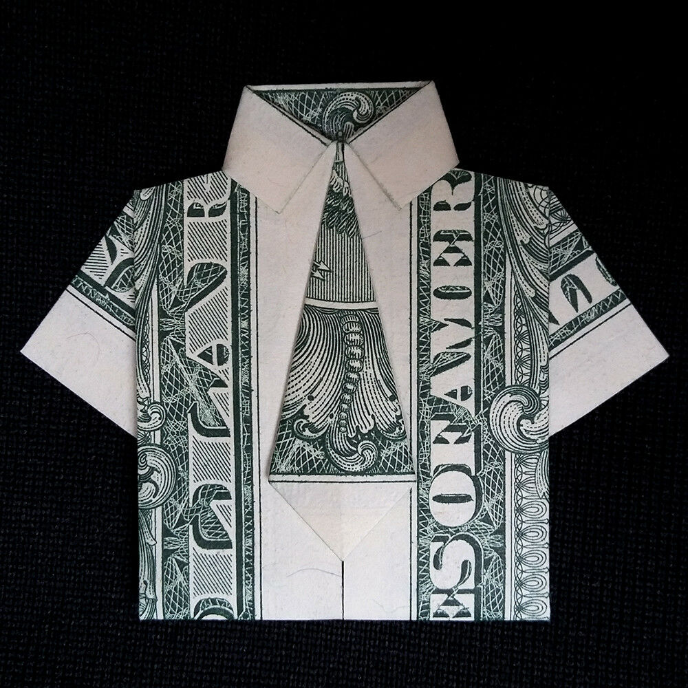 Mens Dress SHIRT with Tie Art Gift Money Origami Made of ... - photo#31