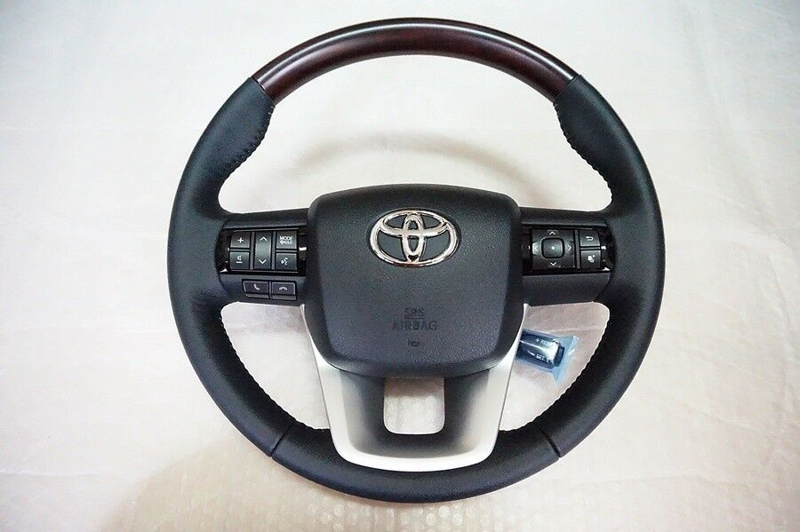 steering wheel toyota hilux revo 2015 genuine brown wood black leather ebay. Black Bedroom Furniture Sets. Home Design Ideas