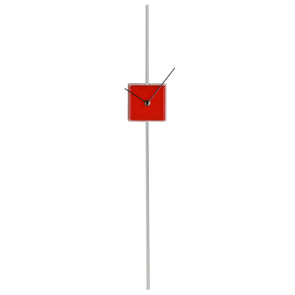 Stylish red wall clock chrome silver long pole pendulum feature wall mountable ebay - Stylish pendulum wall clock ...