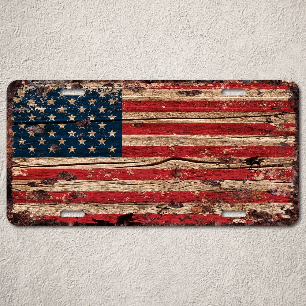 lp0123 american flag auto license plate rust vintage home store decor sign ebay. Black Bedroom Furniture Sets. Home Design Ideas