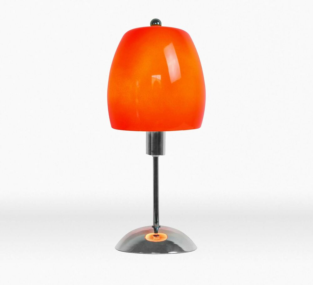 small chrome silver orange metal glass ceiling shade table lamp. Black Bedroom Furniture Sets. Home Design Ideas