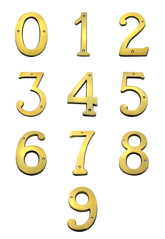 6 Inch Bright Brass House Numbers Home Address Plaque
