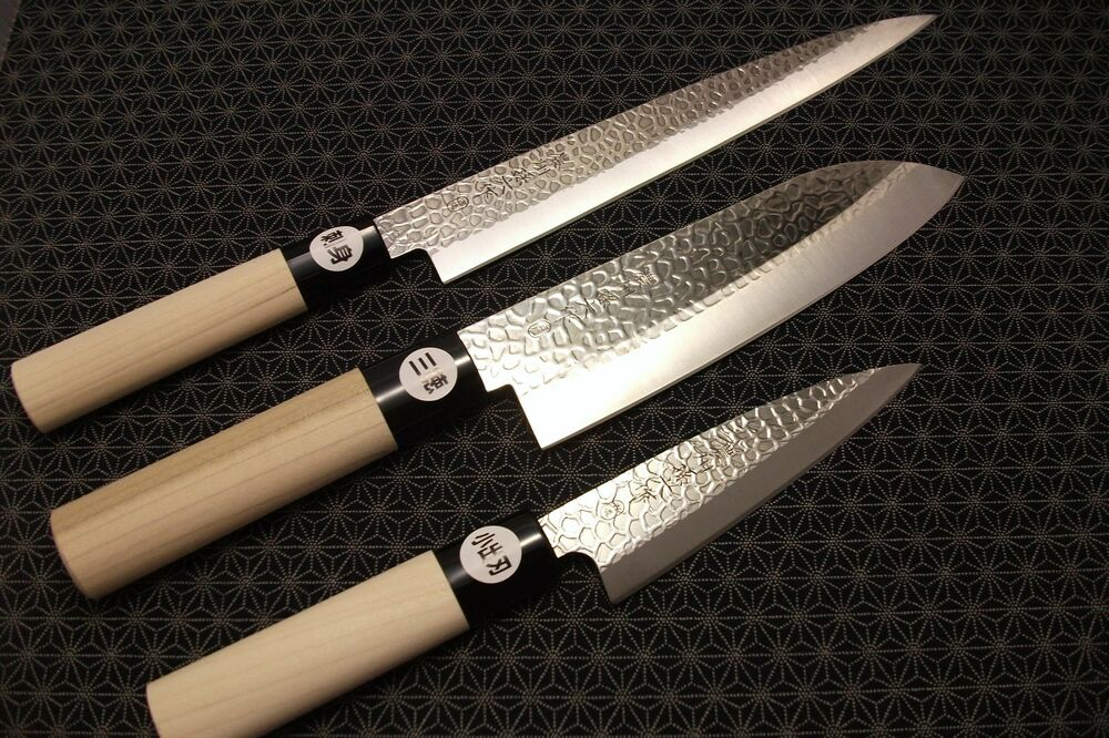 japanese chef 39 s knife set yanagiba santoku deba magoroku hammered made in japan ebay. Black Bedroom Furniture Sets. Home Design Ideas