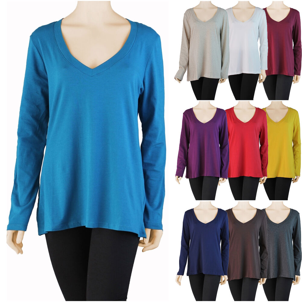 Women plus size fitted basic long sleeve v neck top t for What is a fitted t shirt