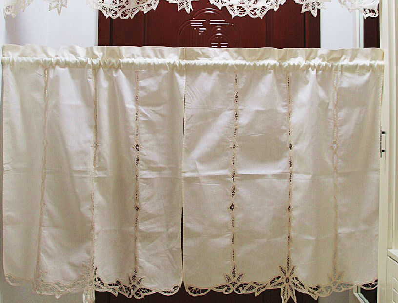 elegant pair of hand battenburg lace beige cotton curtains ebay