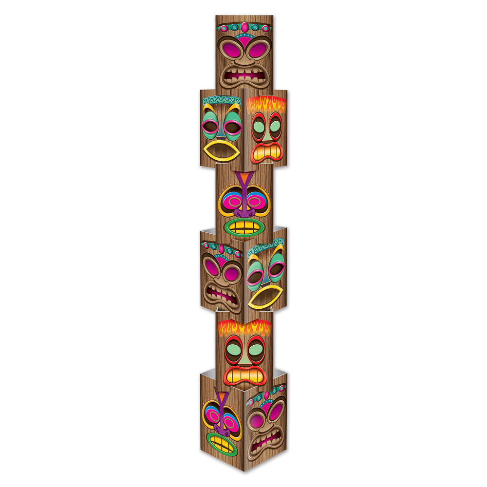 Hawaiian Luau TIKI COLUMN Totum Pole STACKING PARTY Photo ...