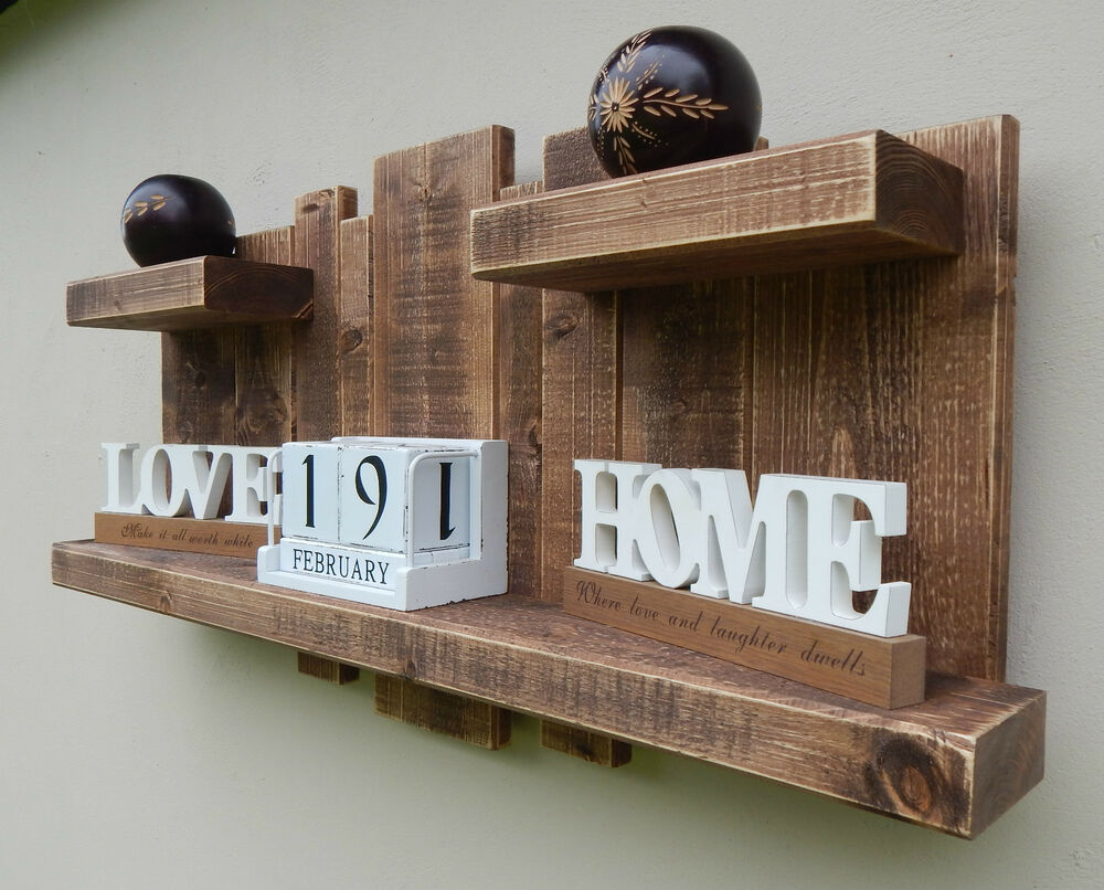 Homemade Wooden Home Decor: FLOATING SHELF HOME WALL HANGING DISTRESSED STORAGE RUSTIC