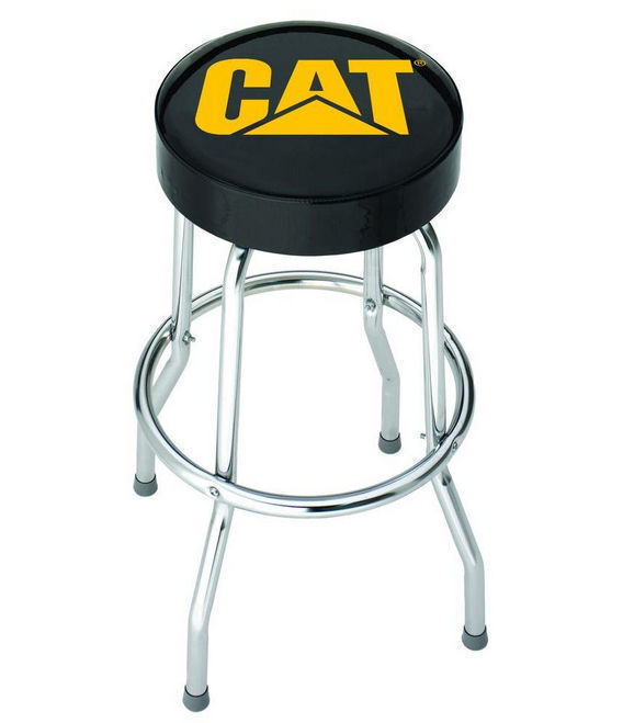 Caterpillar Garage Stool Plasticolor Padded Chrome Metal