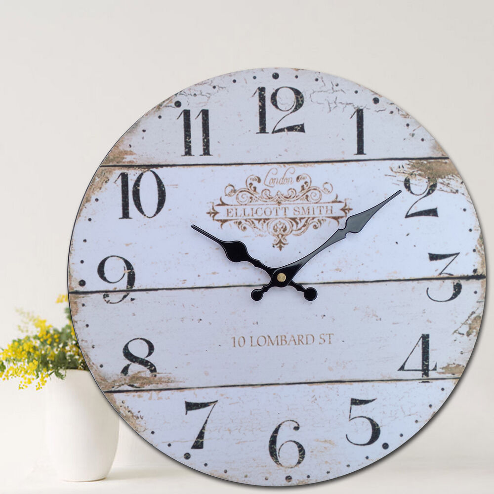 Antique Vintage Style Wooden Round Wall Clock Chic Home
