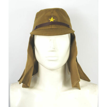 img-WWII WW2 Japanese Army IJA Soldier Field Wool Cap Hat With Havelock Neck Flap L