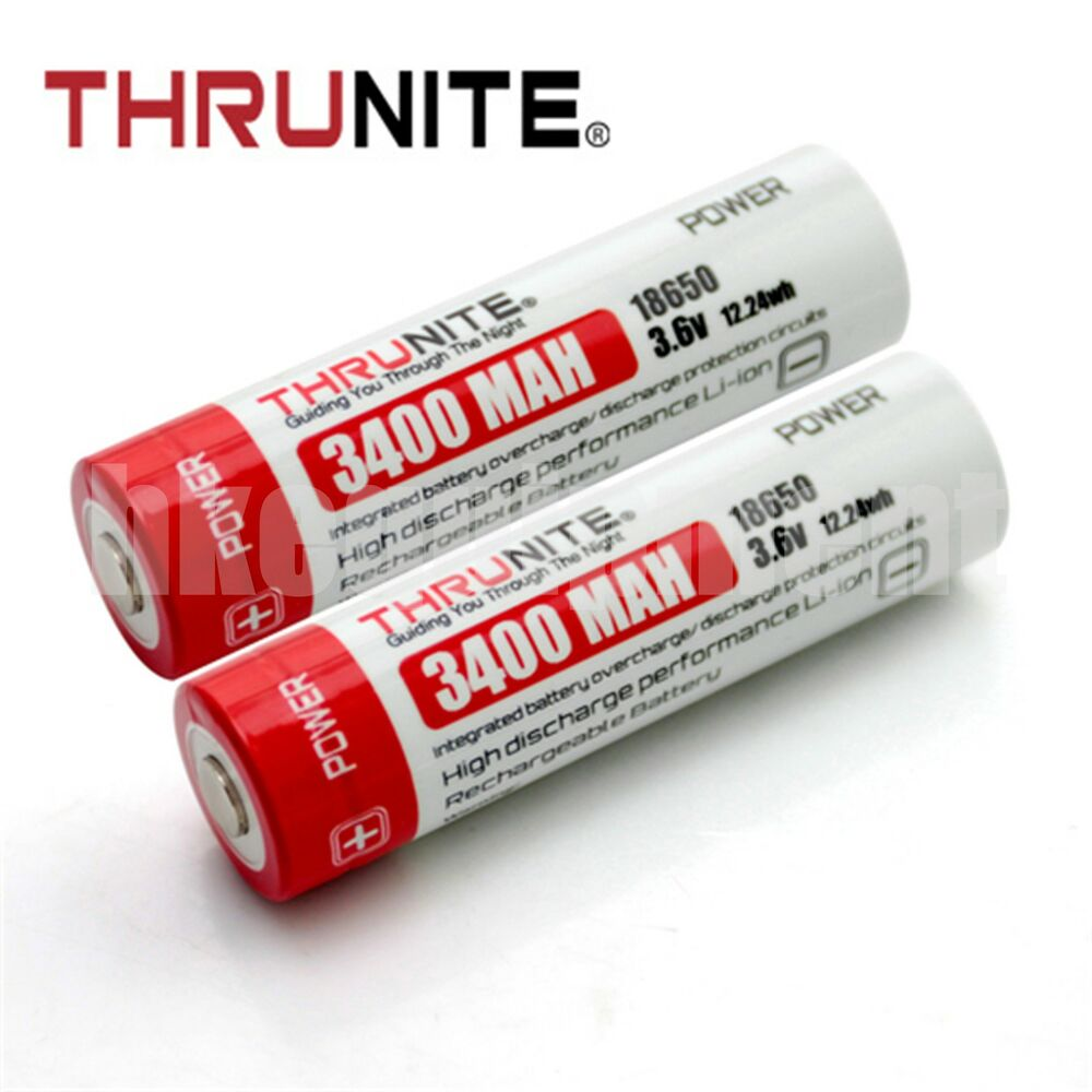 thrunite 18650 3400 mah t3400 li ion rechargeable battery x2 ebay. Black Bedroom Furniture Sets. Home Design Ideas