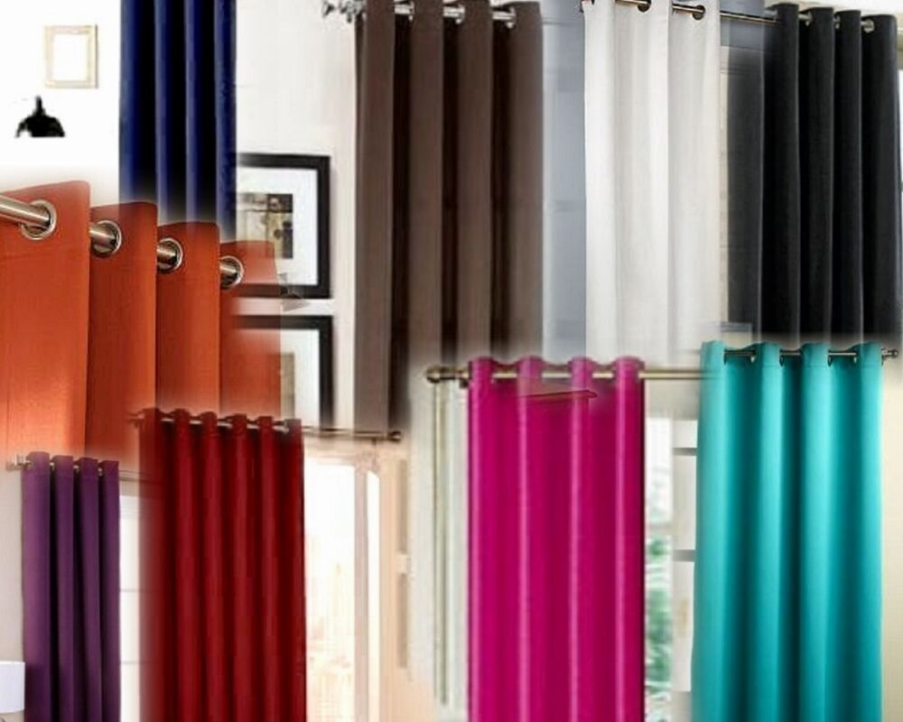 Panels Silk Blackout Lined Thermal Silver Grommet Window Curtain ...