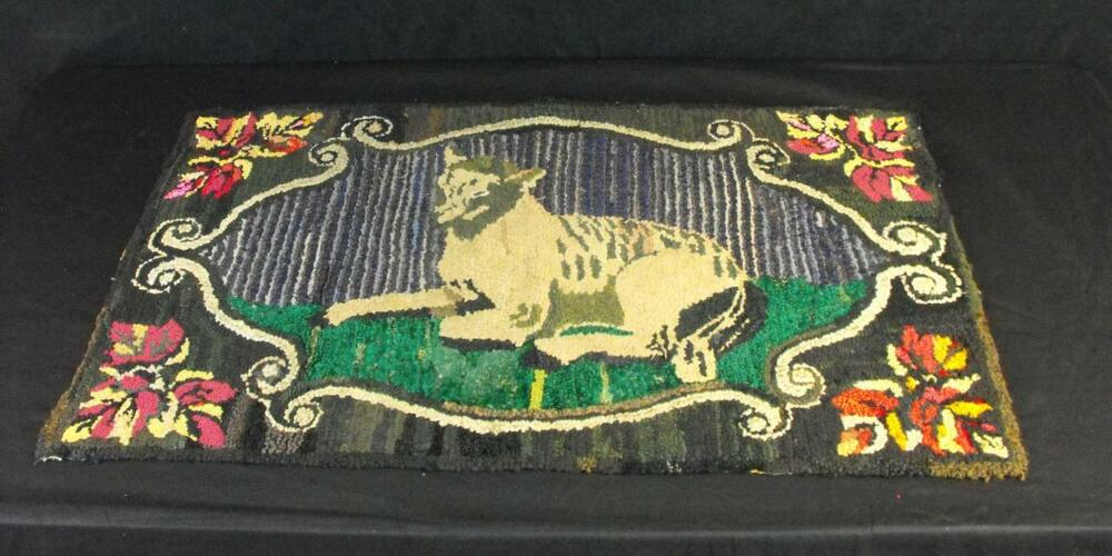 Antique Hooked Rug Reclining Lamb Lancaster Co Pa Early