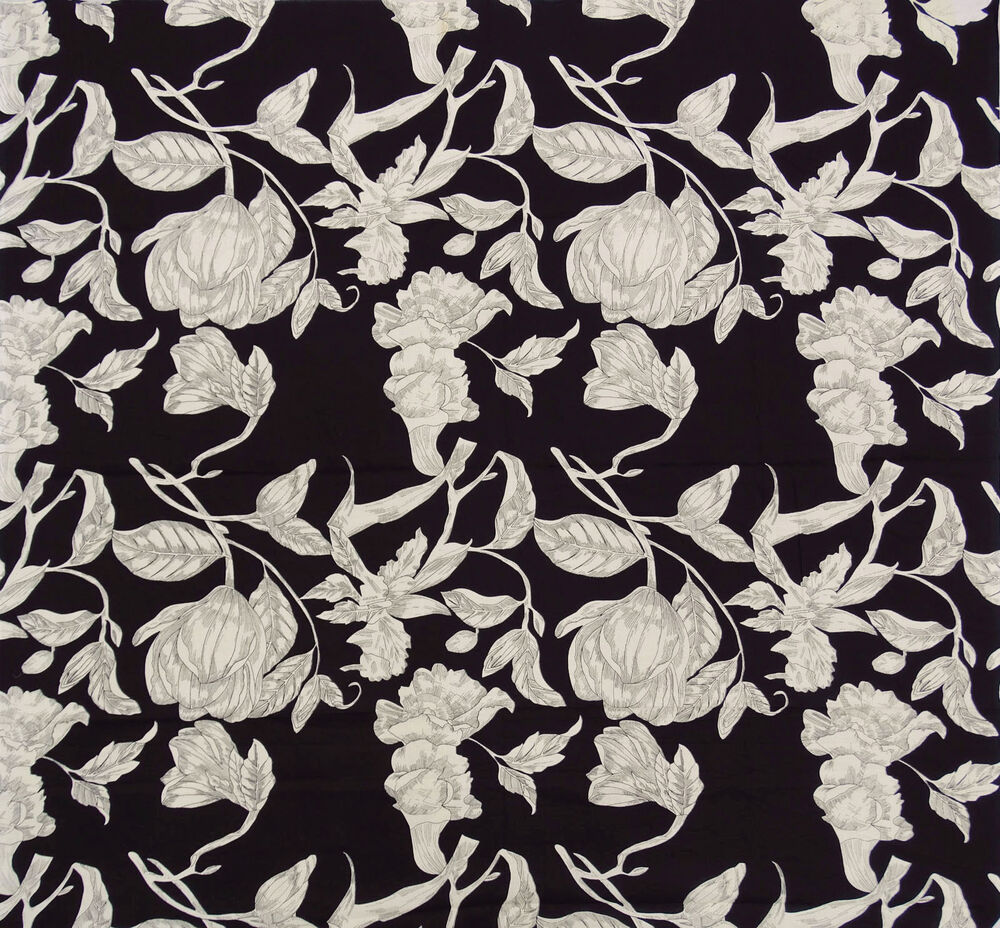 Black floral printed cotton fabric sew 44 wide craft for Printed cotton fabric