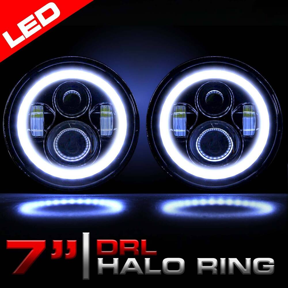 jeep wrangler led headlights halo car interior design. Black Bedroom Furniture Sets. Home Design Ideas