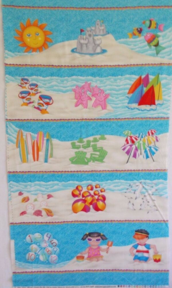 Quilt panel down by the sea henry glass fabric kids for Children s fabric panels