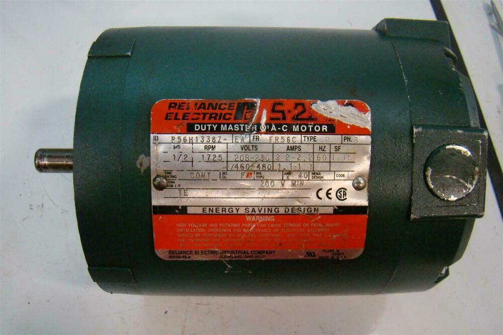 Reliance electric s 2000 duty master a c motor 1 2 hp 1725 for Duty master ac motor reliance electric