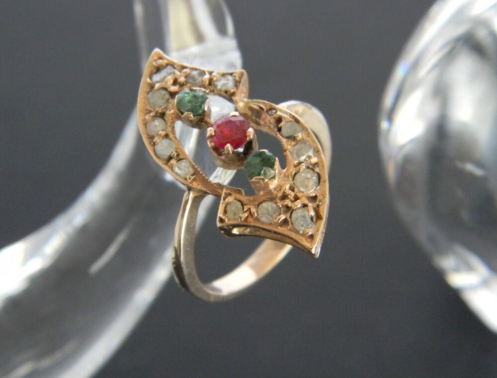 VINTAGE TO ANTIQUE 9CT ROSE GOLD DIAMOND, RUBY & EMERALD