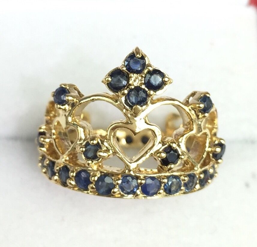 Crown Shape Ruby And Gold Cluster Ring