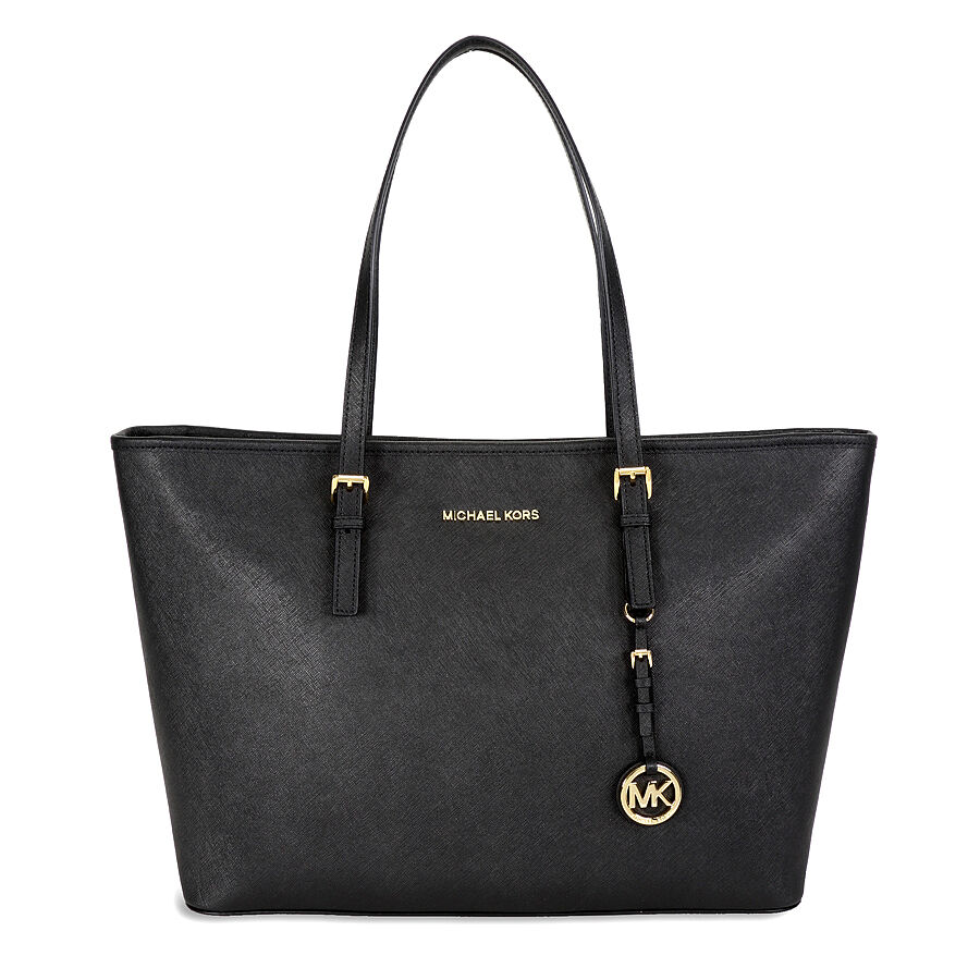 michael kors jet set travel saffiano leather tote black ebay. Black Bedroom Furniture Sets. Home Design Ideas