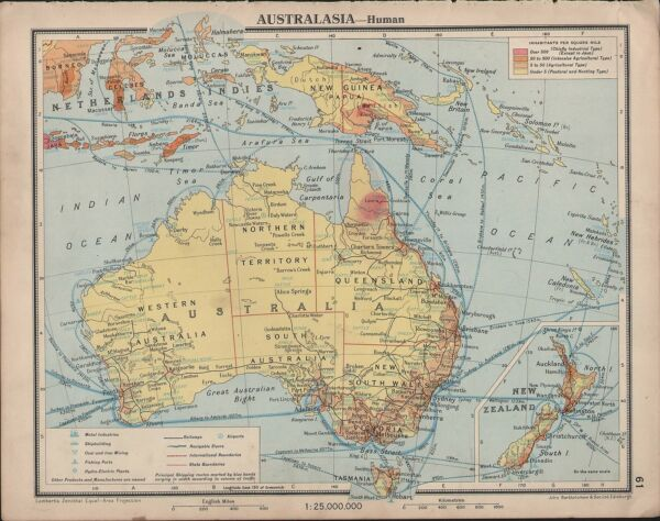 1939 MAP ~ AUSTRALASIA SHIPPING ROUTES NETHERLANDS INDIES NEW GUINEA TASMAINA
