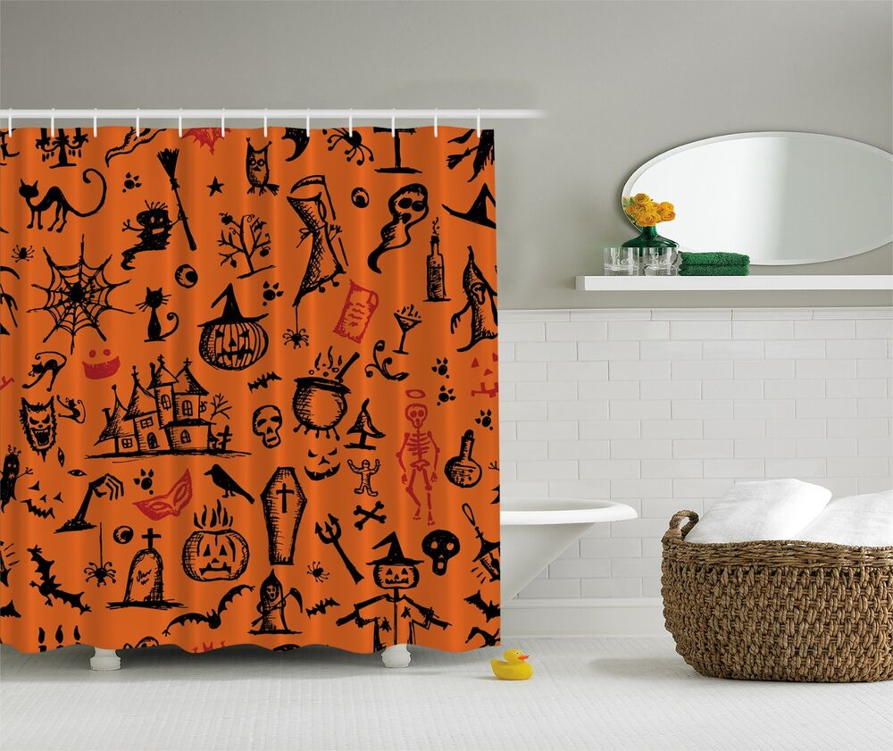 ... Decoration Black Cat Jack o Lantern Ghost Witch Shower Curtain | eBay