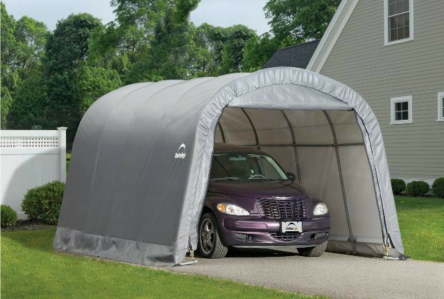 Portable Steel Car Ports : Shelterlogic round shelter portable garage steel