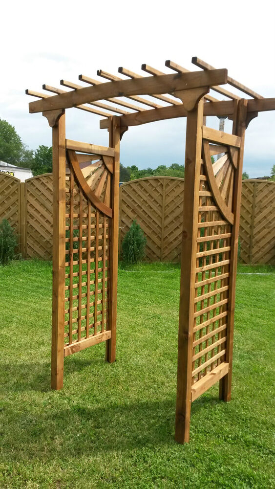 torbogen pergola 150x62x220 cm aus holz mit rankelementen rosenbogen ebay. Black Bedroom Furniture Sets. Home Design Ideas