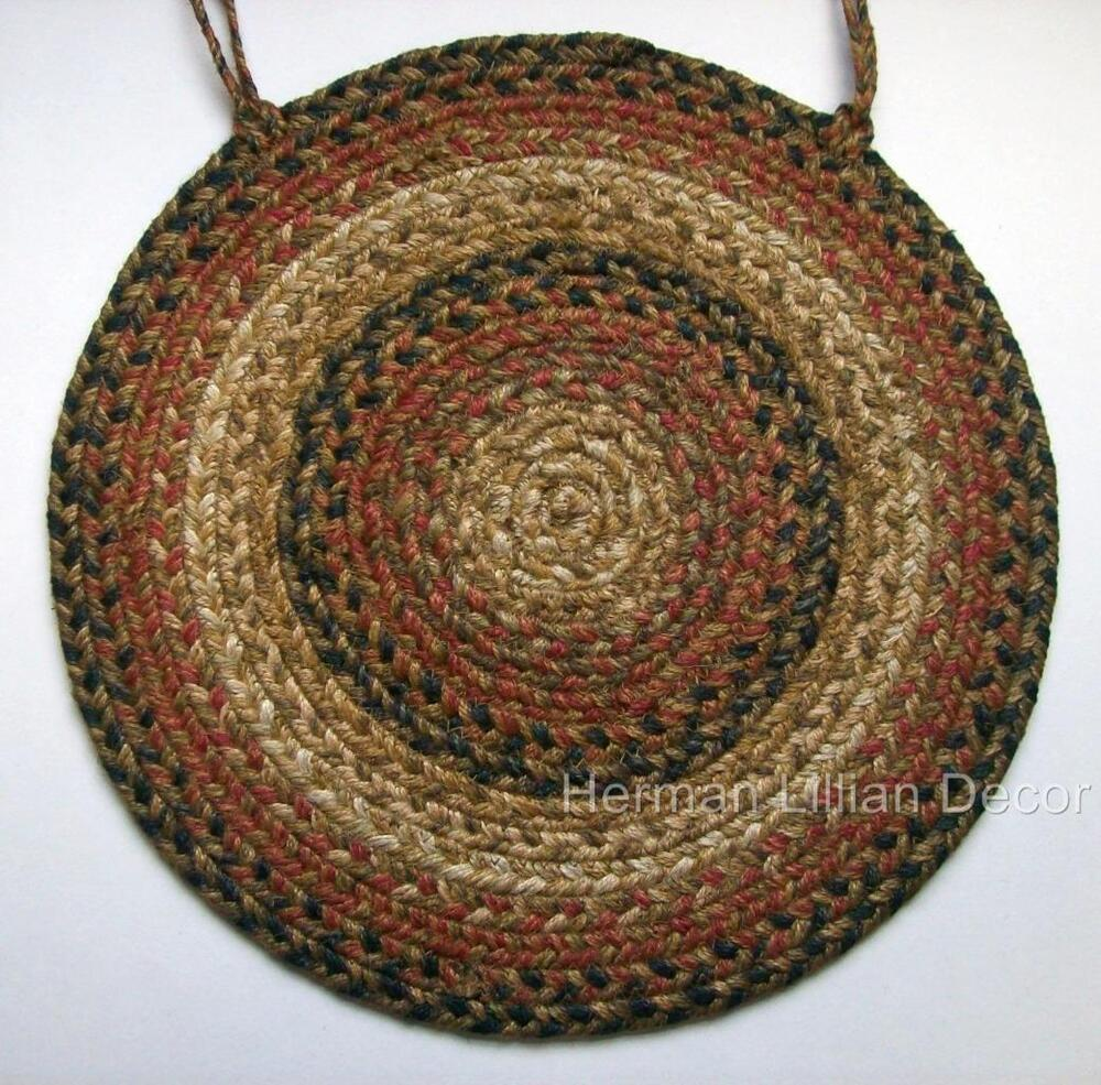 Homespice Russet Braided Jute 15 Quot Chair Pad With Ties