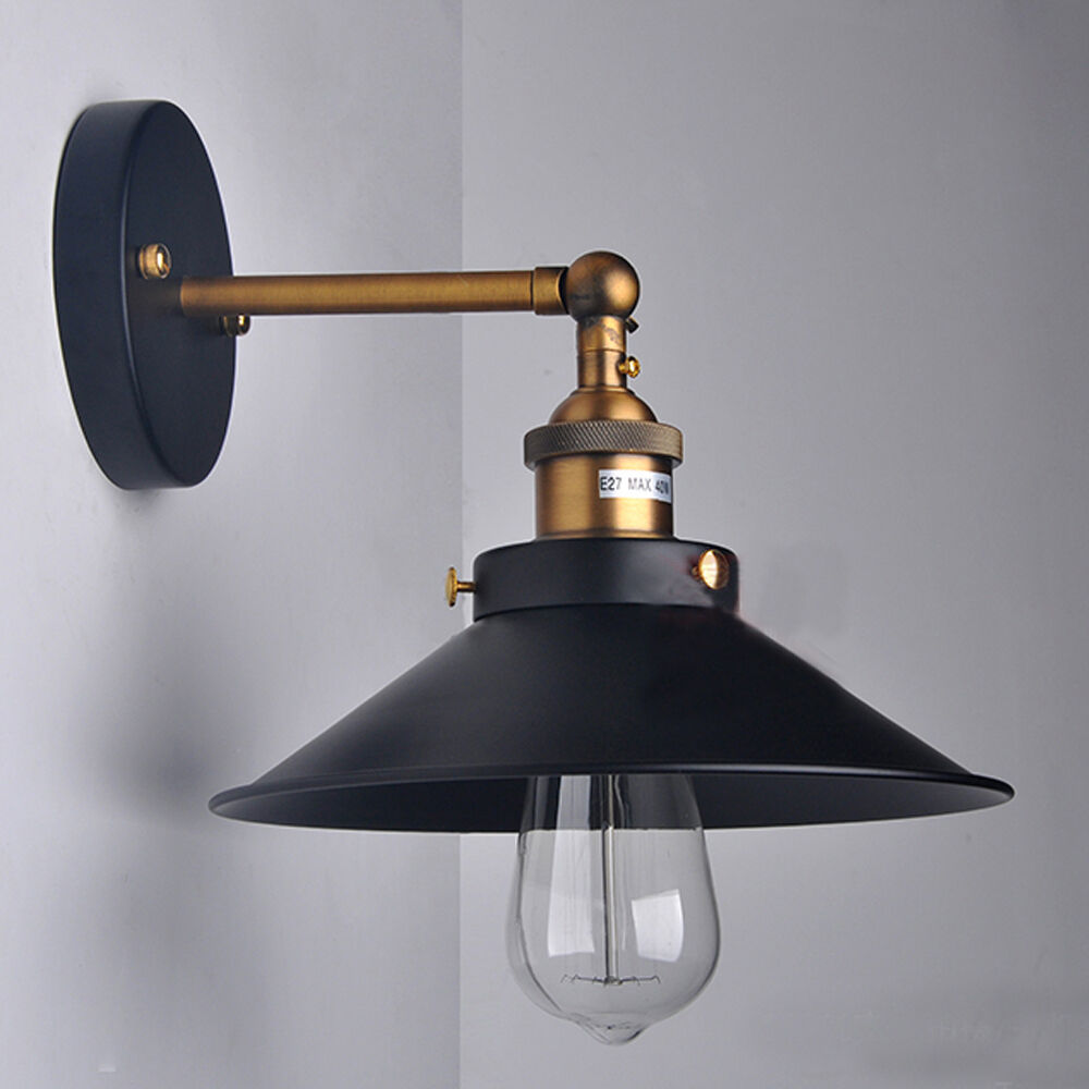 Black Rustic Wall Lights : Vintage Industrial Loft Metal Black Rustic Sconce Wall Light Shade Lamp Kitchen eBay