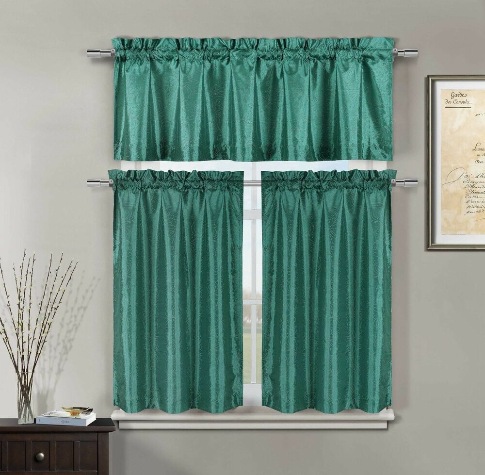 Minka faux silk teal kitchen window curtain 3 piece set for Kitchen window curtains