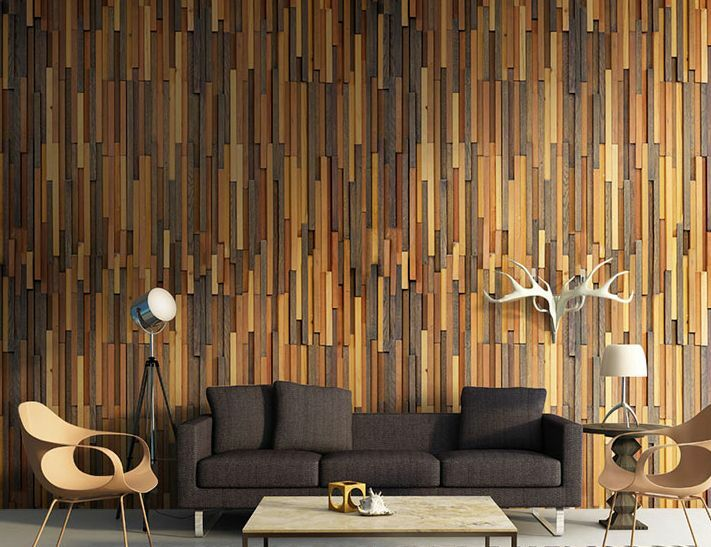 3d mixed natural wood wall paper wall print decal wall for Wall and deco showroom milano