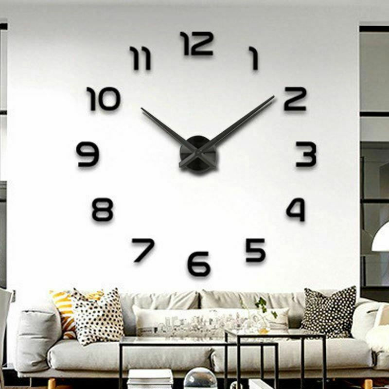 wanduhr deko 3d design spiegel edelstahl uhr wandtattoo wand uhr gro xxl xl c24 ebay. Black Bedroom Furniture Sets. Home Design Ideas