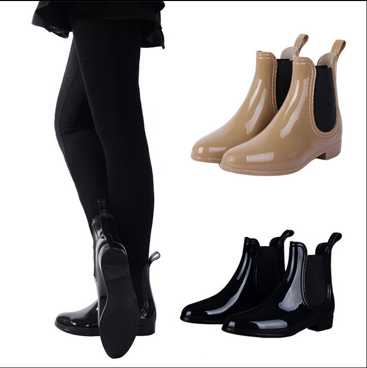 New Arrived Women Fashion Ankle Rain Boots Rubber Overshoes Black Khaki Ebay