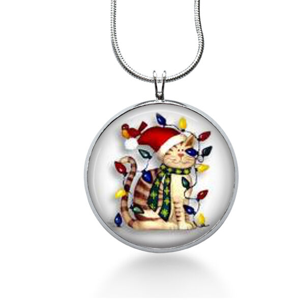 christmas cats necklace holiday pendant cat  ts for