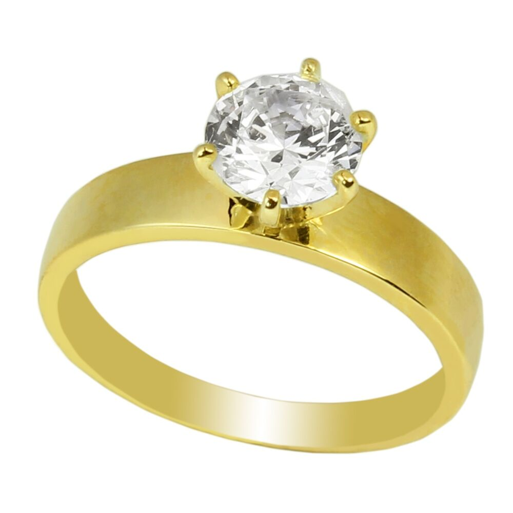 Ladies 10K Yellow Gold Solid Solitaire Ring 10CT CZ Clear Stone Round