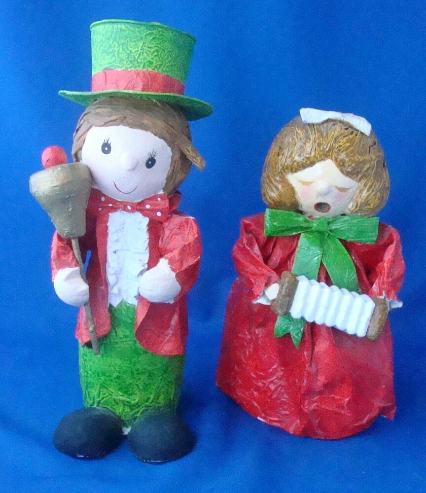 Singing Carolers Candleholders Figurines Vintage By: Paper Mache Figurine Dickens Christmas Carolers 1970s