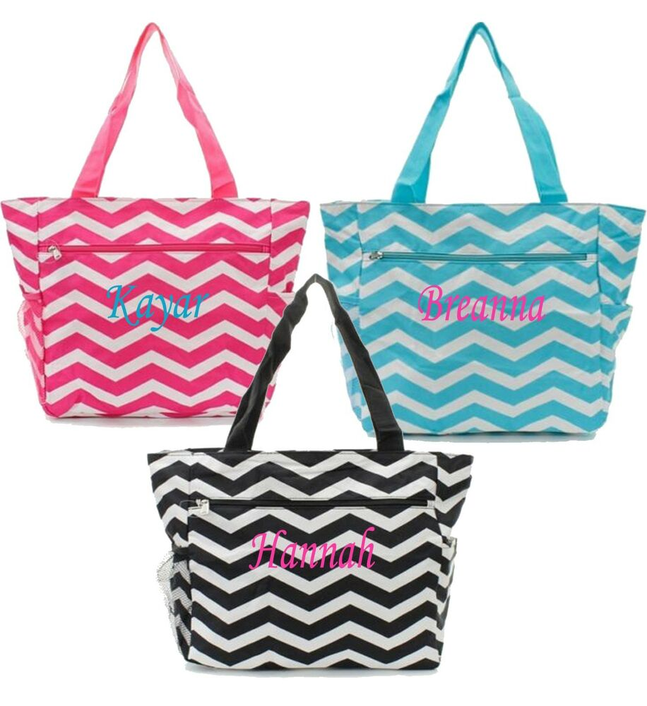 personalized canvas tote bag pocket chevron beach bag diaper bag
