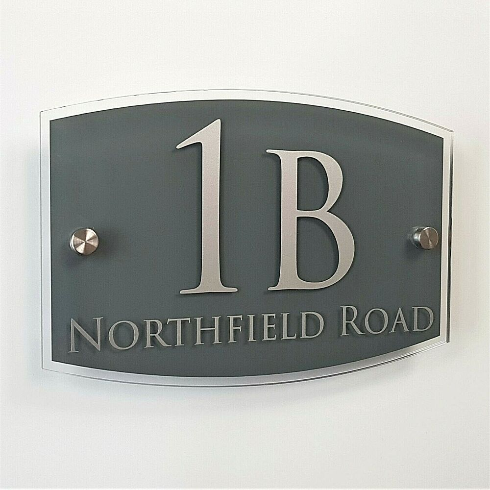 House name number plaque street address sign plate modern for Contemporary house names