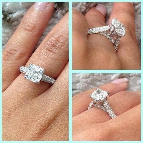 2.5 Ct. Hand Crafted Cushion Cut Micro Pave Natural