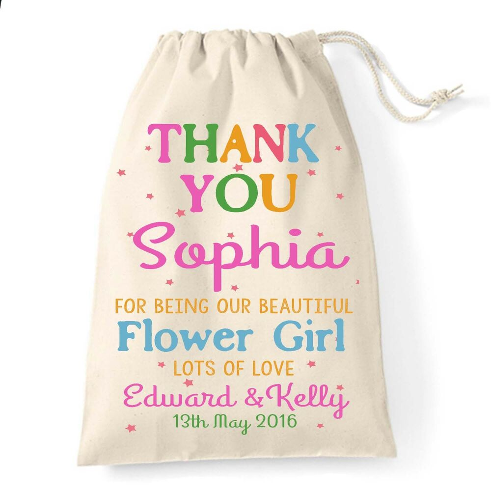 Best Wedding Gift For Girl: Personalised Wedding Day Thank You Favour Gift Bag Flower