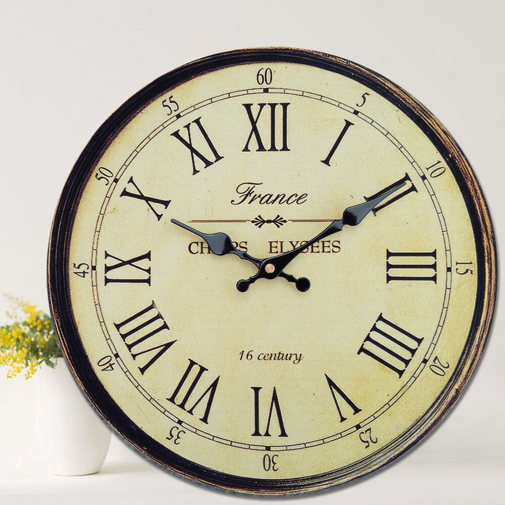 Antique Clock Wall Rustic Vintage Style Wooden Round