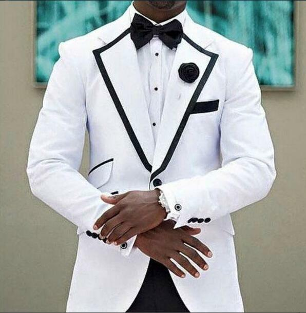 Bespoke White Men Suits Shawl Lapel With Black Trim And