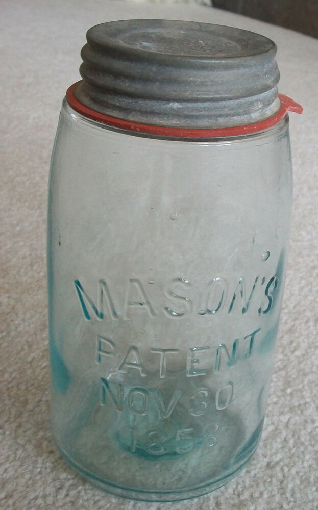 Antique Qt Jar Mason S Patent Nov 30th 1858 Cornflower