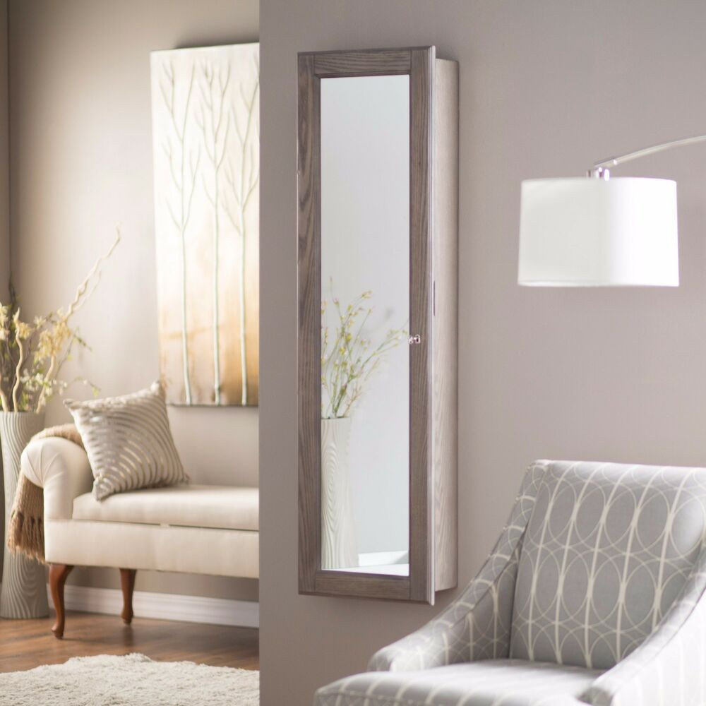 Wall mounted jewelry armoire mirror rustic gray large for Bedroom wall cabinet with mirror