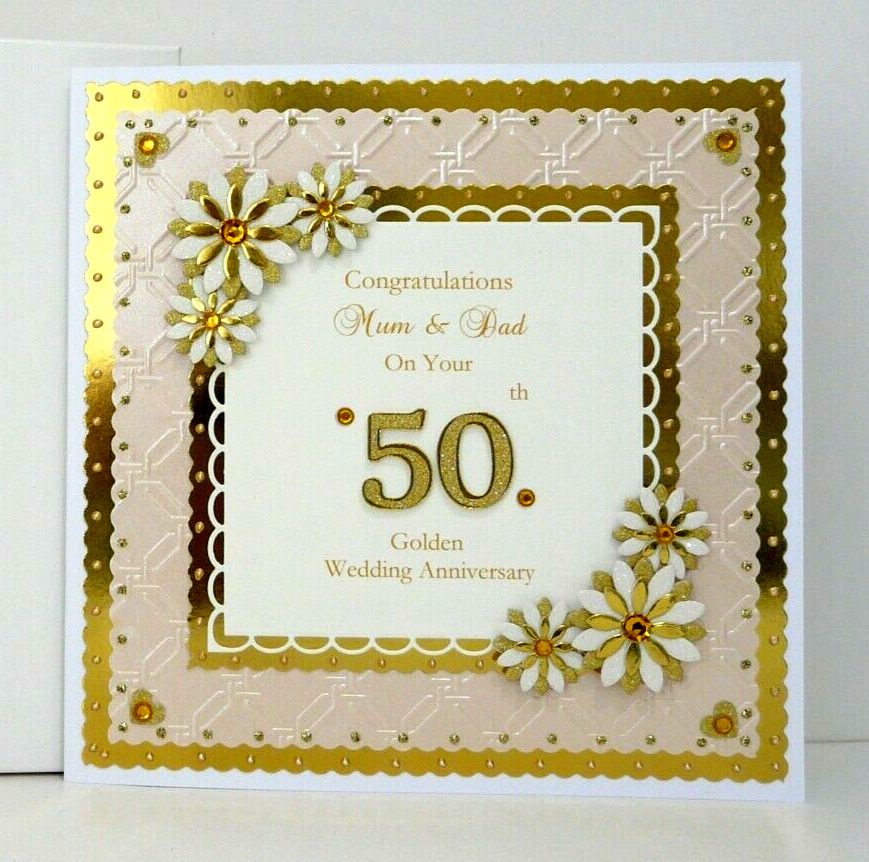 50th Anniversary For Husband Gifts: Golden 50th Wedding Anniversary Card For Wife/Husband/Mum