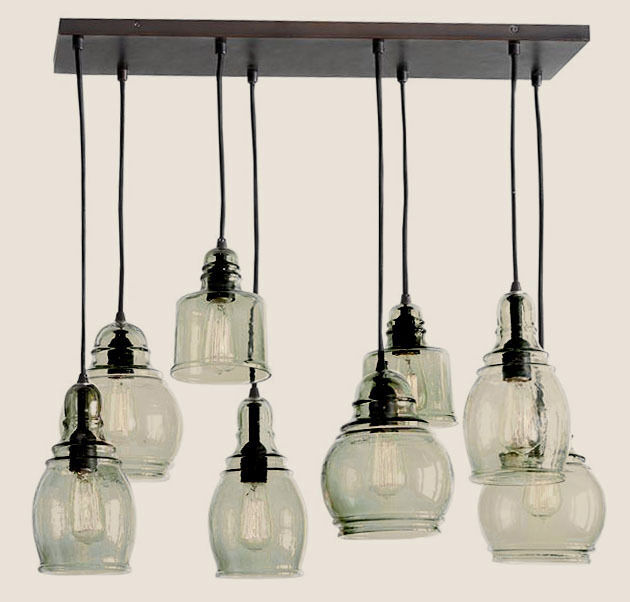 POTTERY BARN Paxton Glass 8-Light Pendant Chandelier, NEW