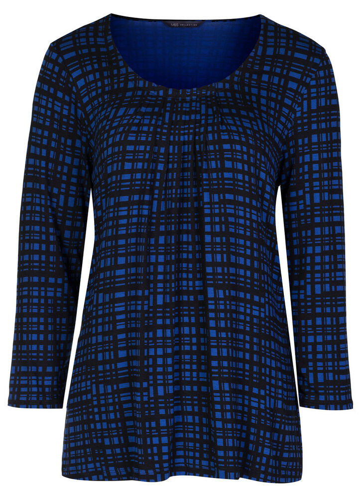 Marks & Spencer Womens Soft New Check Tops M&S 3/4 Sleeve ...